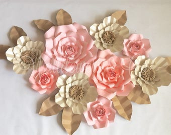 9 pc paper flower backdrop - bridal shower decor - cake table - cake table backdrop - dessert table - baby shower - wall flowers - paper art