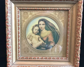 Madonna and Child vintage framed print.