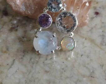 Moonstone, Opal, Amethyst, White and Blue Topaz Pendant Necklace