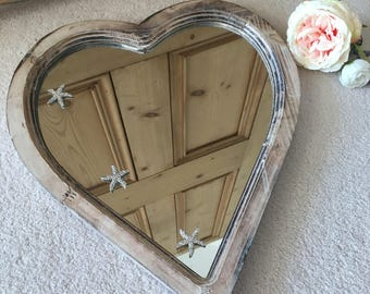 Wooden Heart Mirror with Starfish Diamante Embellishments