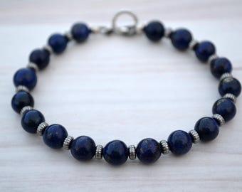 Blue lapis bracelet, Lapis bracelet, Lapis jewelry, Lapis lazuli bracelet, Blue bracelet, Lapis lazuli jewelry, Lapis lazuli beaded bracelet
