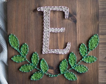 Wood Monogram String Art gallery wall decor, personalized rustic wedding, bridal shower or baby shower gift, wooden Initial Sign