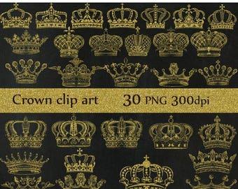 """40%SALE Gold Crown clipart: """"CROWN CLIP Art"""" Royal Crown Clipart Gold Silhouette Clipart gold crowns Gold clip art Digital Crown  Scrapbook"""