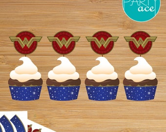 Wonder Woman Printable Cupcake Wrappers and Toppers Wonder Woman Birthday Party Superhero Birthday Party Decoration Marvel