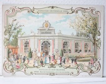 Antique Lithograph for Au Bon Marche, Paris, Pavillion du Bon Marché