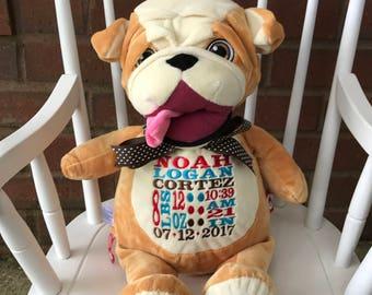 Personalized Bull Dog Cubbie, Bull Dog Cubbie, Bull Dog, stuffed animal, plush stuffed animal
