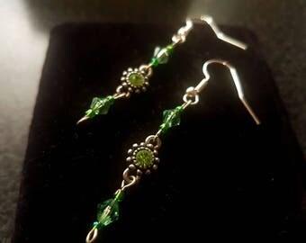 Long Green drop Beaded Crystal Earrings