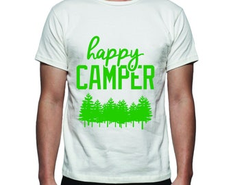 Happy Camper Tee Shirt Design, SVG, DXF, EPS Vector files for use with Cricut or Silhouette Vinyl Cutting Machines