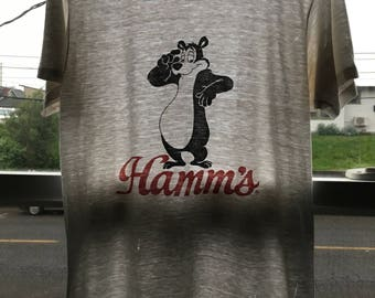 vintage hamms beer bear fan souvenir t shirt thrashed onion thin