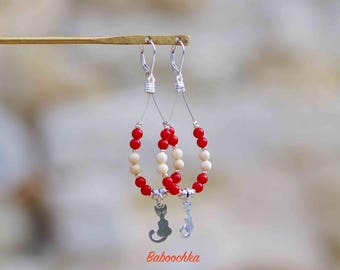 """Tinku"" earrings with coral leather and Jasper ""River"""