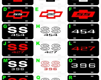 Chevrolet Chevy SS 350 396 427 454  Bad Ass assorted metal novelty vanity license plate