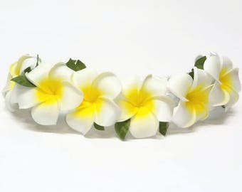 Plumeria Flower Crown| You Choose Color| Flower Crown| Adjustable Flower Crown| Moana Hair Flower| Moana Headband| Hawaiian Flower| Plumeria