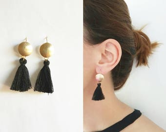 Gold plated brushed dome earnings with/without long black tassels