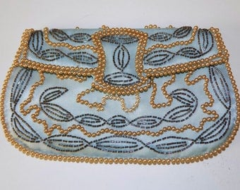 Vintage Blue Beaded Satin Evening Clutch Bag / Purse