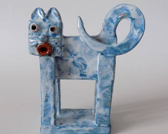 Studio Pottery Cat Hand Built By Jadran Of Croatia