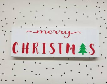 Merry Christmas wooden sign - hand painted