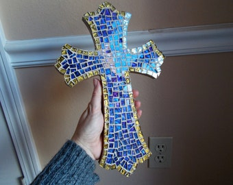 Mosaic Cross in Blue/purple/gold colors