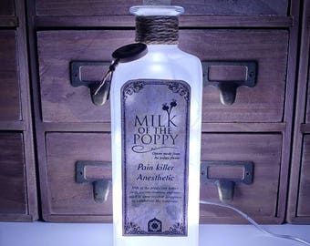 Game Of Thrones Milk Of The Poppy Apothecary LED Bottle Lamp Light by JayEngrave