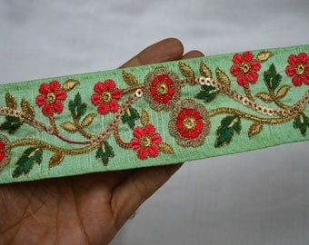 Green Indian Laces and Trims Saree Border Fabric Trim By The Yard Embroidered Wholesale Trimmings Ribbon Indian Sari Border gold indian trim