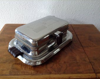 Vintage Art Deco Waffle Maker, Electric Waffle Maker, Chrome Waffle Maker, General Electric
