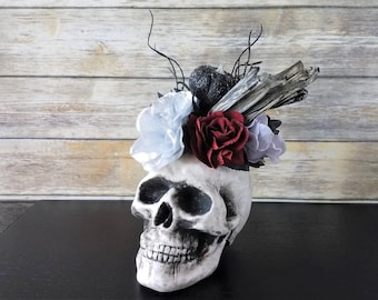 halloween skull bouquet gothic table decor haunted house decor halloween flowers halloween