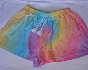 Rainbow swirl tie dye shorts