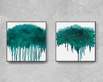 Abstract teal and white painting, printable painting, contemporary wall art, instant download art, modern abstract digital print, turqoise