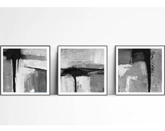 Set of 3 Black and White Minimalist Abstract Prints, Printable Triptych, Scandinavian Decor, Geometric Art, Graphic Arts Instant Download