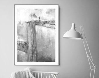 Abstract Landscape ,Grey & White Abstract Wall Art, Grey Stripes, Minimalist Art, Grey large art, Minimalist Painting, Scandinavian Art