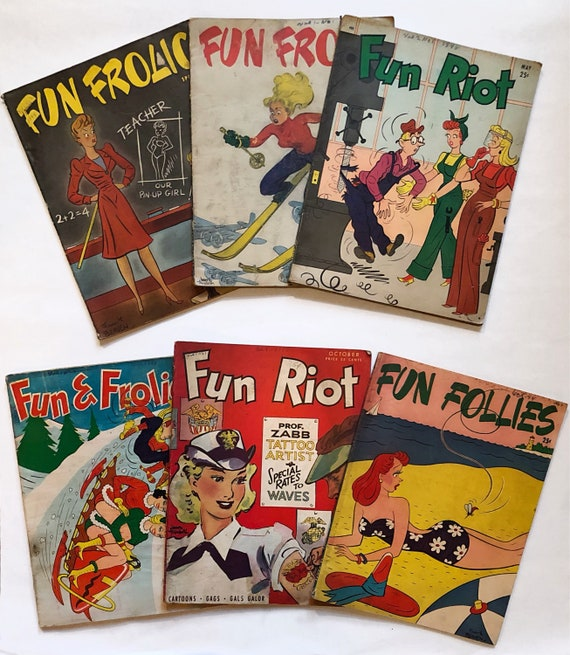 Lot of 6 WWII-era Wartime Pinup Comic Magazines - Including Vol. 1 Number 1 of Fun Follies, 1940s.