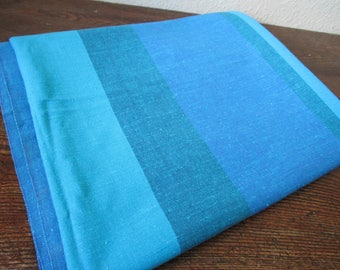 Vintage Swedish Tablecloth, Striped Cotton Tablecloth, Blue Green Tablecloth , Size- 180 cm x 138 cm / 70.8 x 54.3 inches