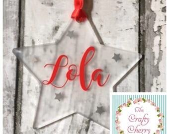 Personalised christmas tree hanging star