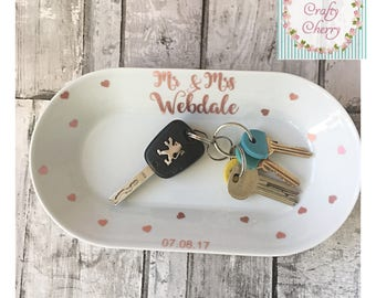 Personalised key dish, Wedding gift, Trinket dish, Ring dish,