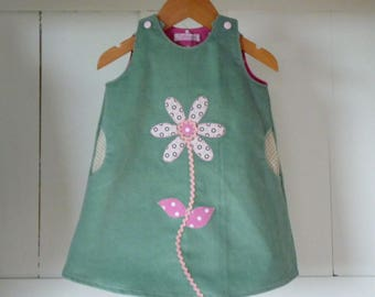 12 months trapeze dress light green velvet with applied Daisy