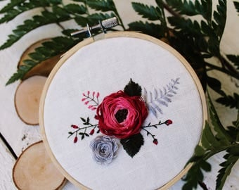 Hand embroidery flowers, Floral embroidery, Womens day gift, Idea for Mother's Day, Embroidery hoop, Unique decor, Wall Art,Home decor
