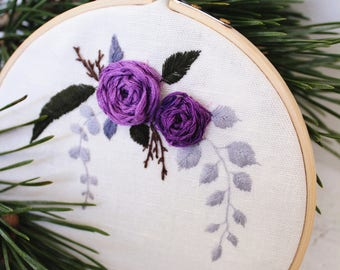 Hand embroidery, Purple flowers, Add your text, Embroidery hoop, Floral embroidery, Wall decor, Home decor, Housewarming gift,  Womens day