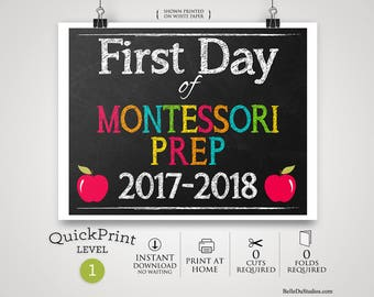 50% OFF SALE - Printable First Day of Montessori Prep School Sign, First Day of School Sign, Instant Download, Print at Home, No Waiting
