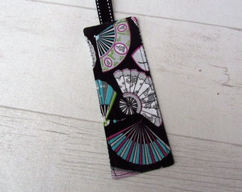 Bookmark fabric fans, geometric fabric bookmark, bookmark black white fabric pink and green