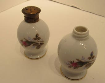 Mossy Rose Salt and Pepper Shakers with Brass Top