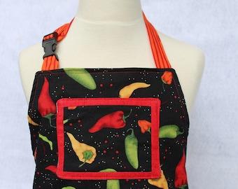 Child's Apron--Hot Chilis Childs Reversible Apron