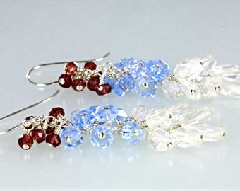 White Topaz Blue Kyanite and Red Garnet Cluster Sterling Silver Earrings, Colorful Gemstone Beads Long Cluster Earrings