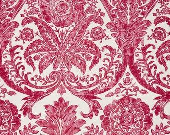 SCALAMANDRE LUCIANA DAMASK Print Linen Fabric 10 Yards Raspberry