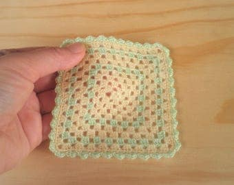 FREE SHIPPING, Yellow & Lime Green Miniature Crochet Blanket, Baby Doll Blanket/Afghan, Dollhouse Granny Square Blanket