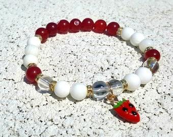 Strawberry Bracelet * White Alabaster Red Agate Quartz Bracelet