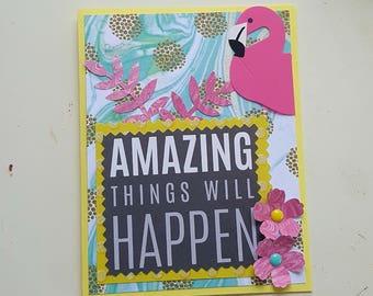 Flamingo Card * Encouragement Hope Handmade Card