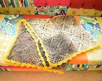 GRAY with YELLOW EDGE 100% Lambswool Handmade Afghan