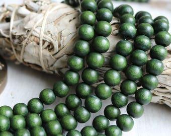 8mm round beads, wood beads, green beads, dark green beads, forest green beads, boho beads, bracelet beads, full strand