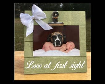 Love at First Sight - Dog/Puppy Sibling - funny New Baby Birth Announcement - Family Gift - Picture/Photo Clip Frame - Custom Made - Options