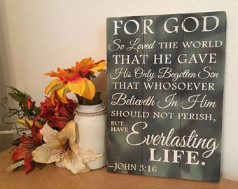 Rustic Camo Sign • CUSTOM SIGN • John 3:16 Wood Sign • For God So Loved The World Sign • Rustic Bible Verse Sign • Scripture Wood Sign