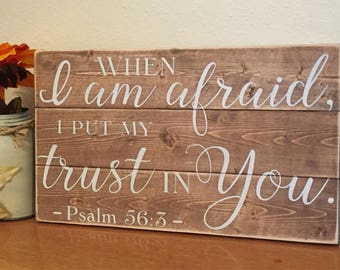 Scripture wall art •Bible Verse Sign • Religious Gifts • Shabby Chic Sign• Psalm Plaque • Trust in the Lord • Trust God • Rustic Wood Sign